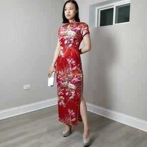 NWT Silky floral print red QiPao Cheongsam long